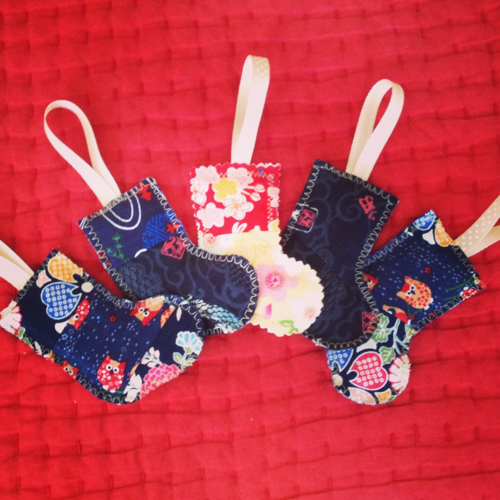 Christmas ornament made from scraps. With Japanese fabric ...