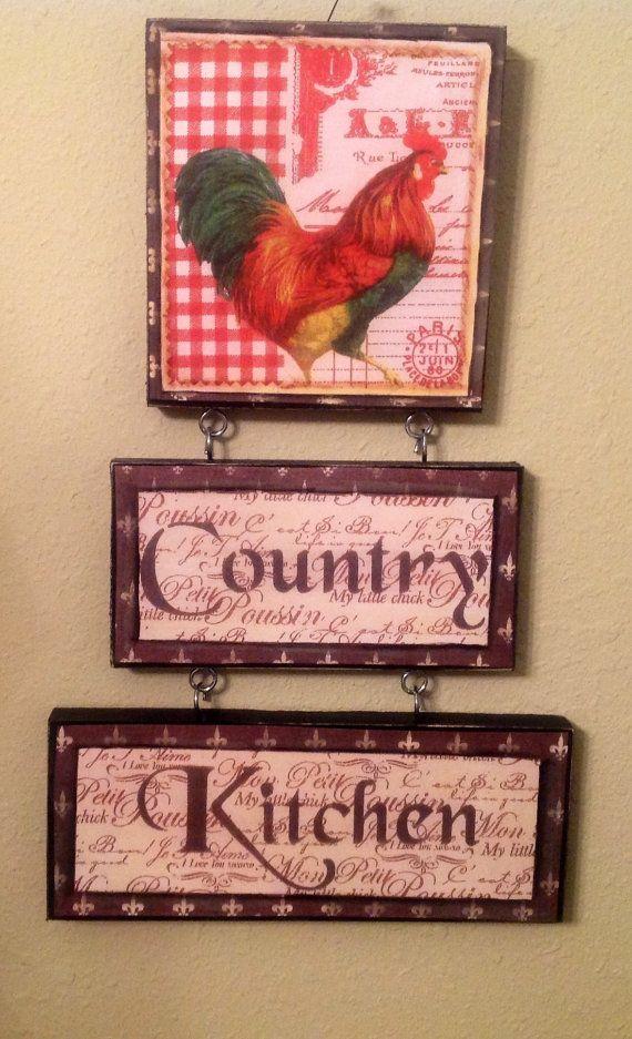 NEW Rooster Kitchen sign Farm Kitchen..Country von CraftsByJoyice ...