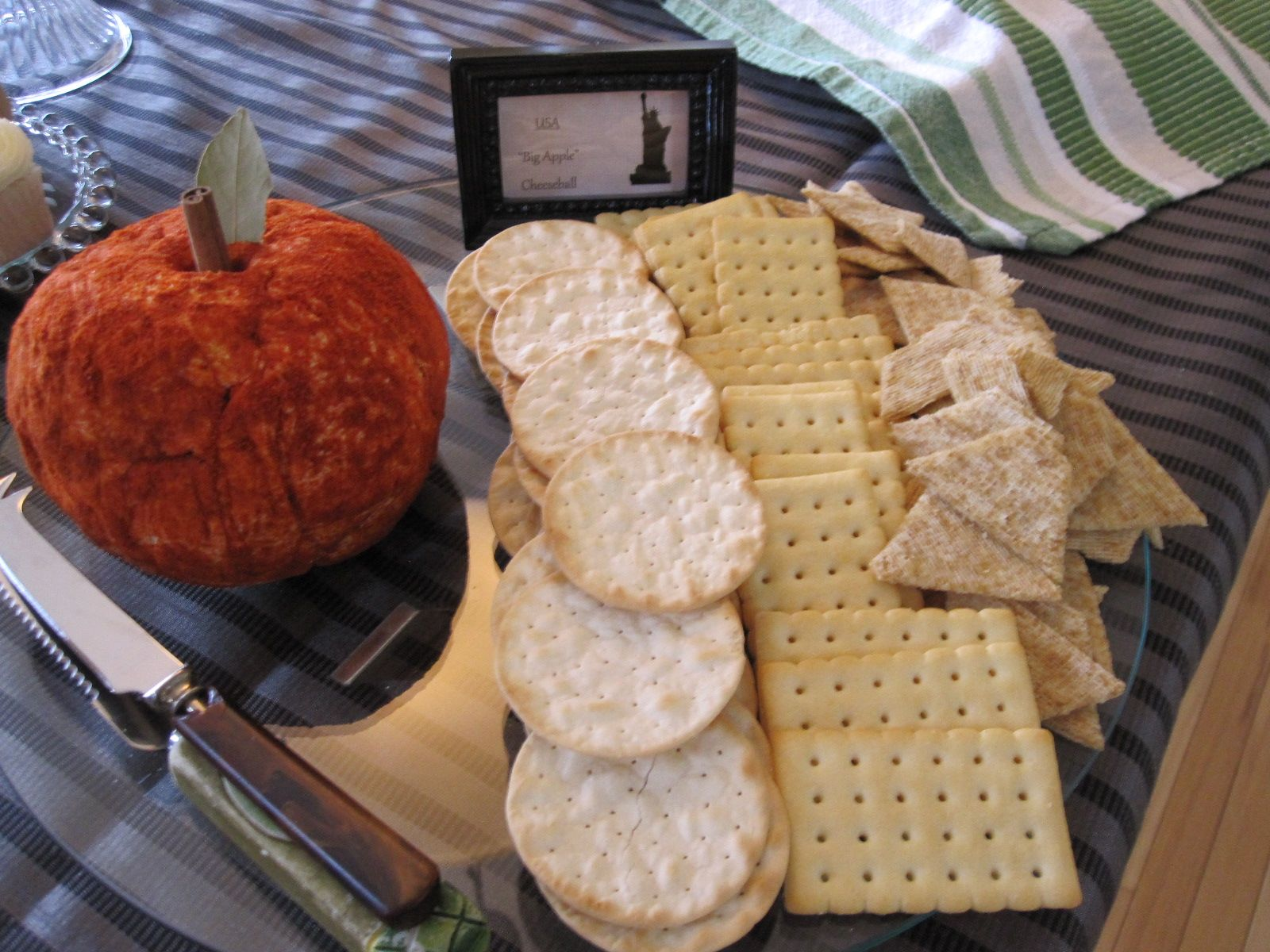 "Bridal shower Travel Theme - serve food inspired by the bride's travels. This ""Big Apple Cheeseball"" represents New York City"