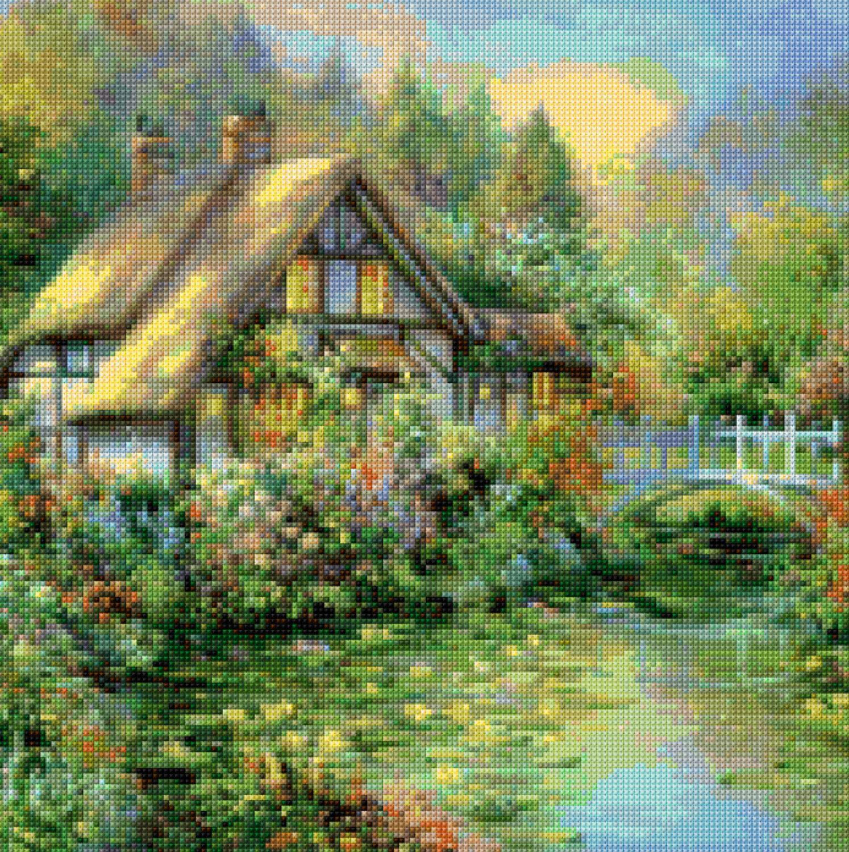 Victorian English Cottage Cross Stitch Pattern PDF