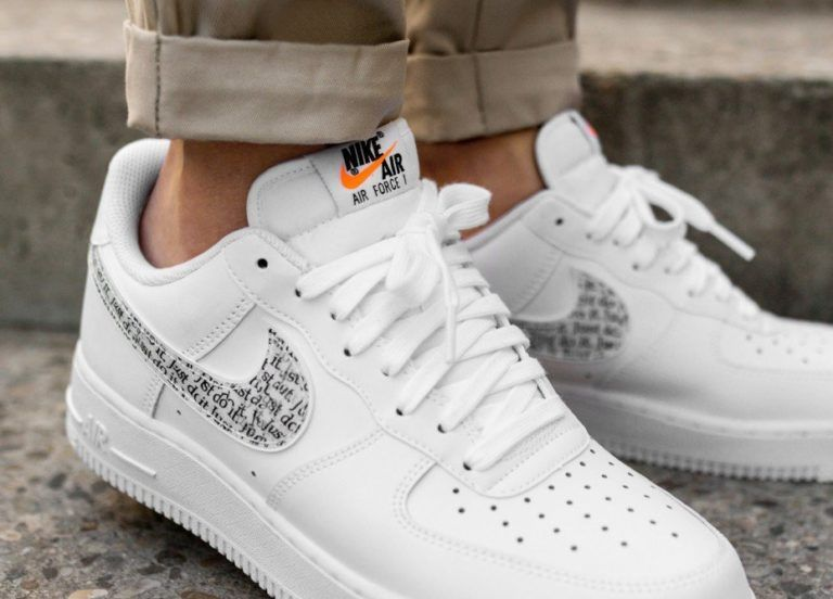 Nike Air Force 1 07 Lv8 Jdi Lntc White White Black Total Orange