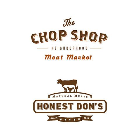 Awesome branding for butcher and connected restaurant.  Unbelievably cool.  The Chicken inside a Pig inside a Cow is Brilliant, and the Font for Chop Shop is perfect.