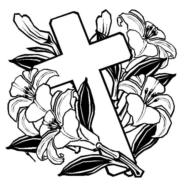 Easter Coloring Pages Cross With Flowers Cross Coloring Page Easter Coloring Pages Flower Drawing