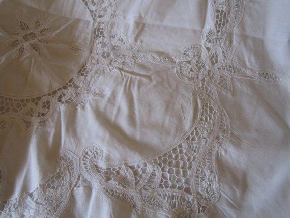 vintage ecru battenburg lace duvet 2