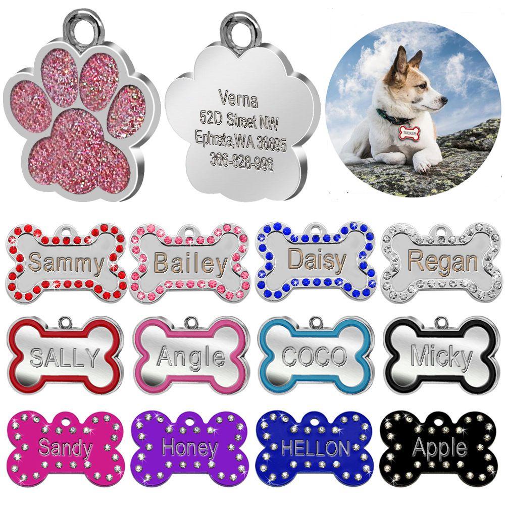 642ed19c0b4e comprar Personalizado grabado etiquetas para perros cachorros de gato  personalizado nombre collar tag hueso Paw collar Accesorios anti-perdida  inoxidable ...