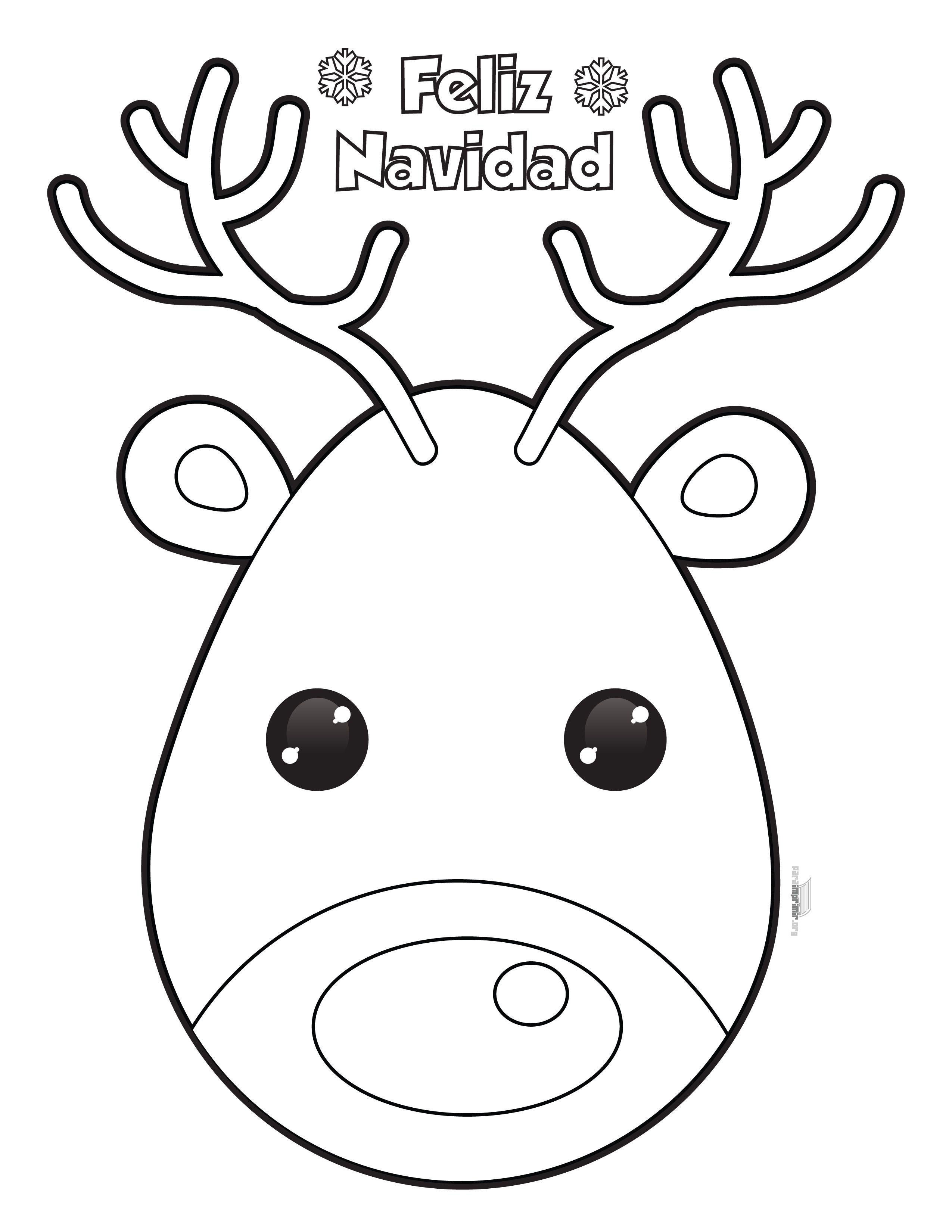 caras de renos de navidad para colorear  Buscar con Google