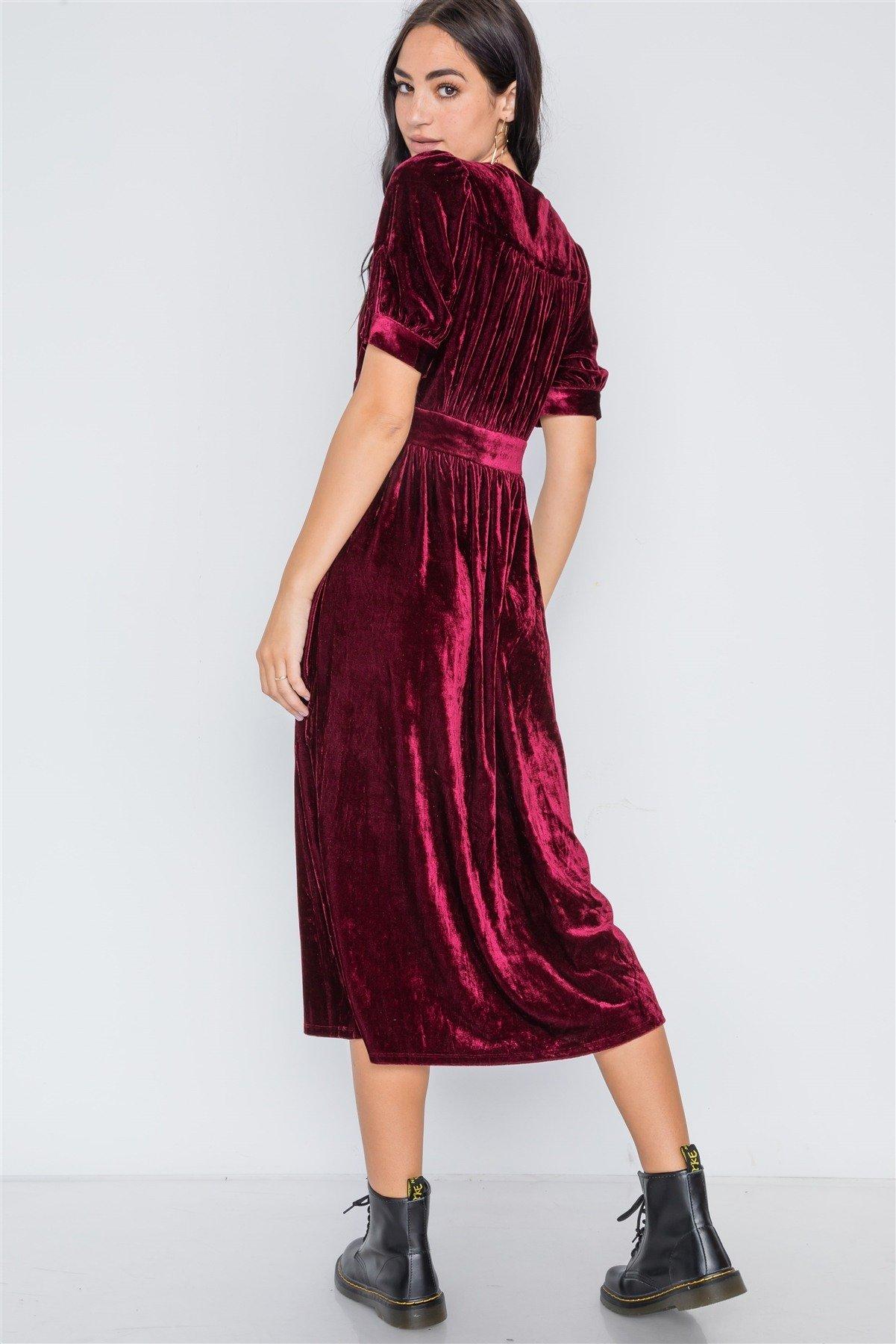 Burgundy velvet short sleeve button down midi dress