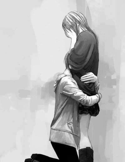 Anime boy couple cry girl hug love manga otaku - Anime boy hugging girl ...
