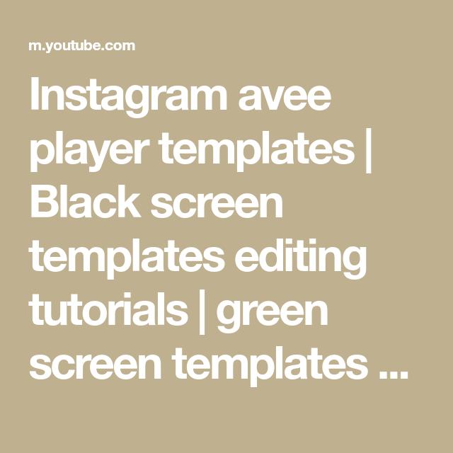 Instagram Avee Player Templates