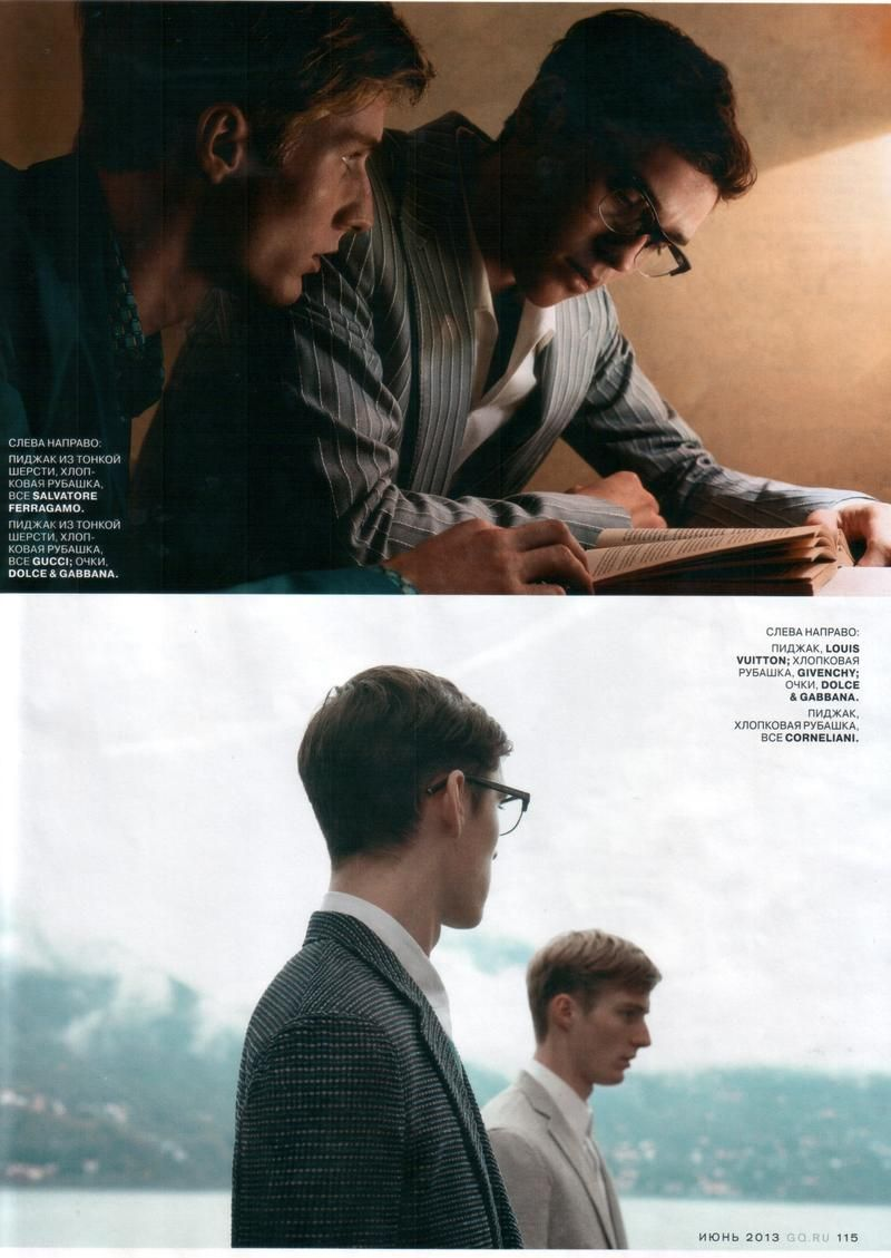 """German Model Michael Lange and British Model Anders Hayward in """"The Talented Mr. Ripley"""" by Pablo Arroyo for the June 2013 Issue of GQ Russia"""