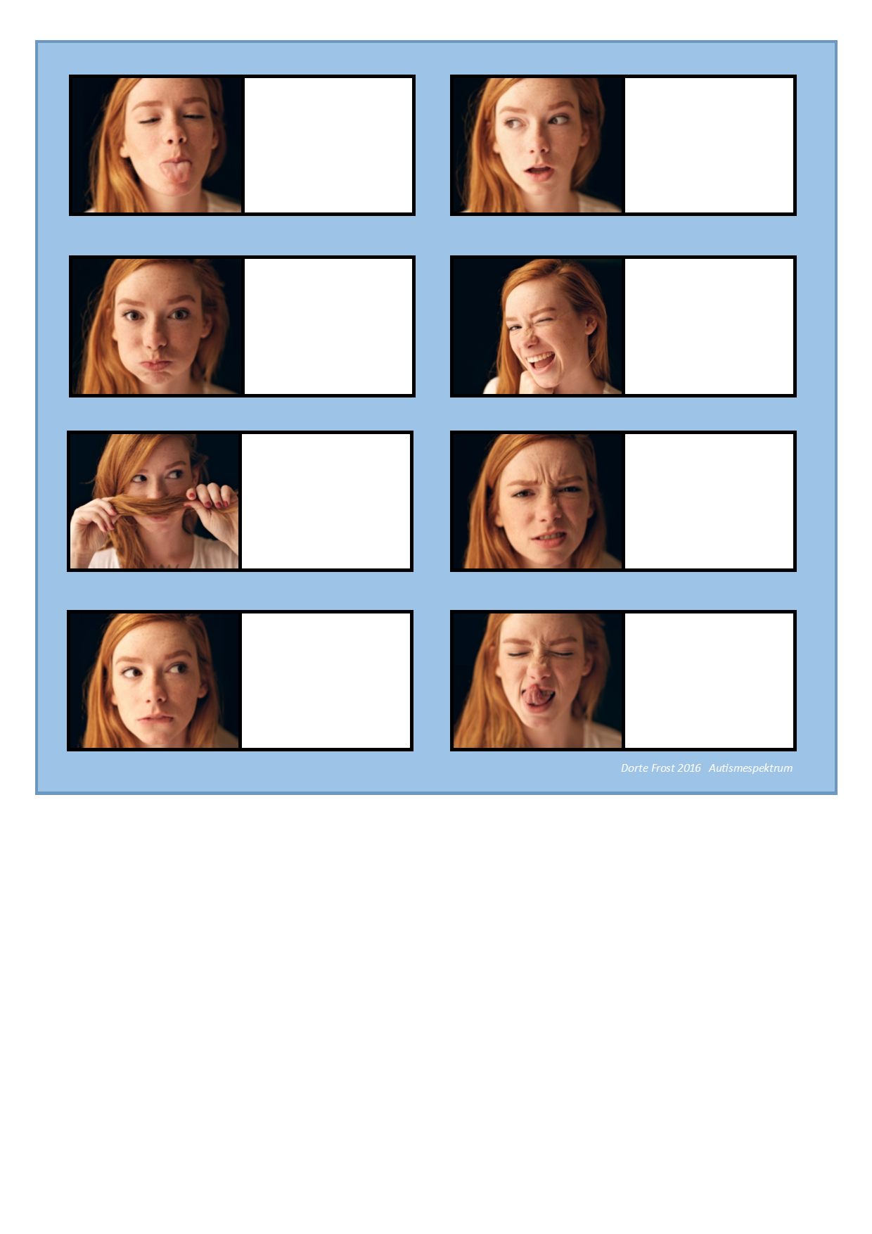 Board For The Facial Expression Matching Game Find The