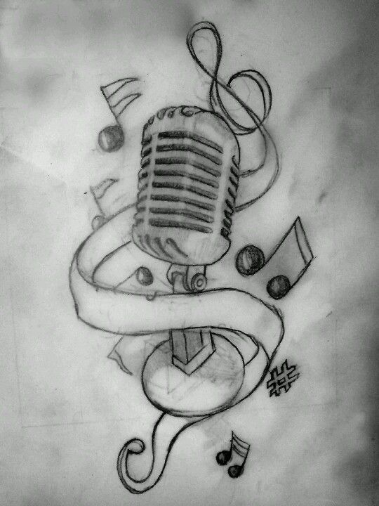 Old Microphone With Music Notes Drawings Pinte