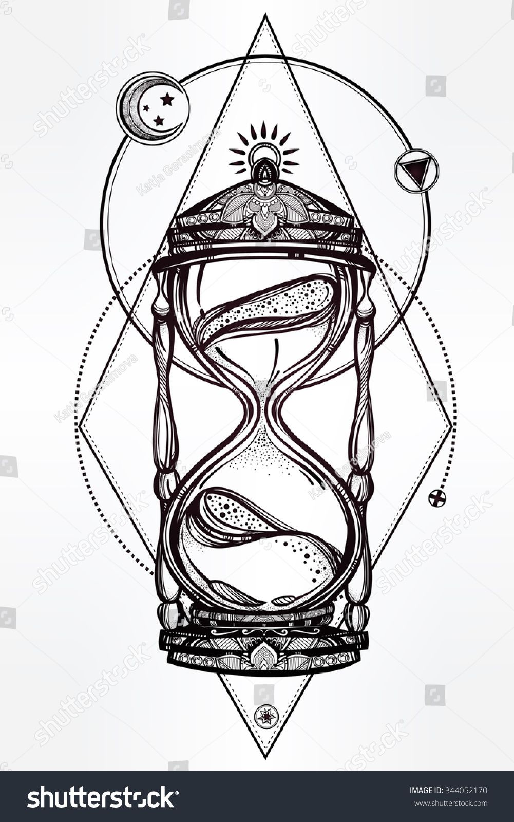 Hand drawn romantic beautiful drawing of a hourglass vector hand drawn romantic beautiful drawing of a hourglass vector illustration isolated tattoo design biocorpaavc Images
