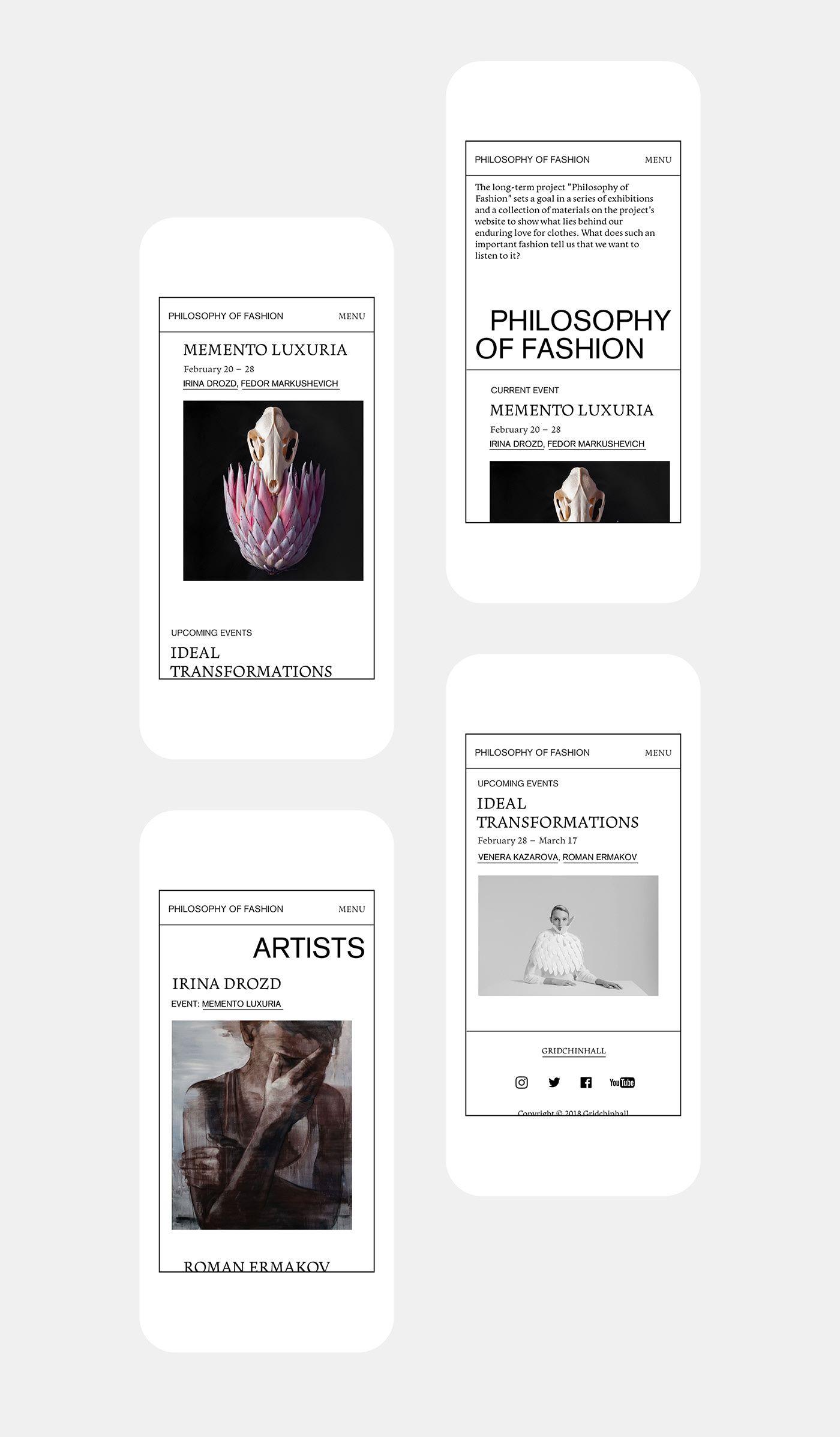 Philosophy Of Fashion On Behance Mobile Web Design Web Design Website Design