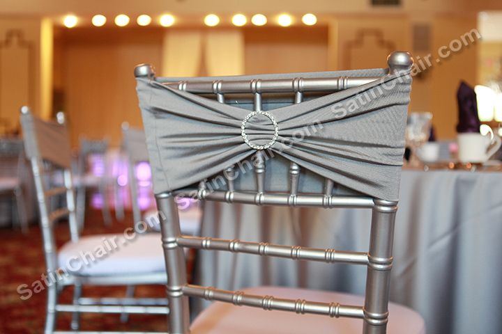 Crystal Round Brooch Accent On Silver Lycra Band Really Adds To The Gorgeous Look Of Our Silver Chi Chiavari Chairs Banquet Chair Covers Chair Covers Wedding
