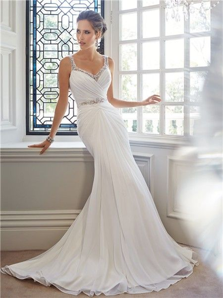 Trumpet Mermaid Sweetheart Neckline Low Back Chiffon Crystal Wedding Dress Beaded Straps