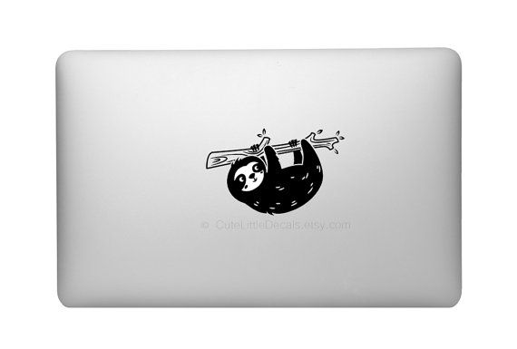 Cute sloth decal happy animal decals macbook design sticker