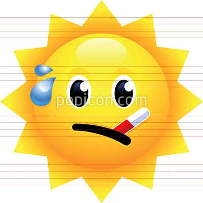 Sun Face With Thermometer Emoji In 2020 Emoji Thermometer Colour Images