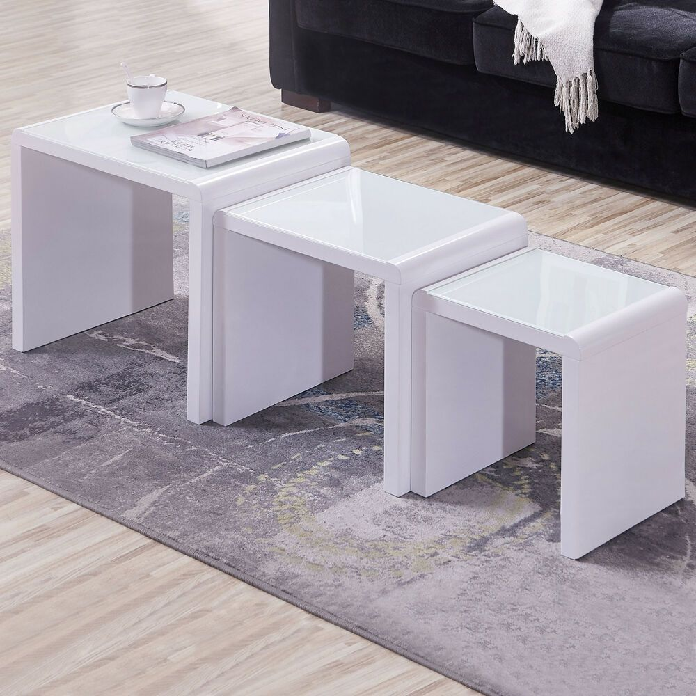 High gloss white white glass nest of 3 coffee table