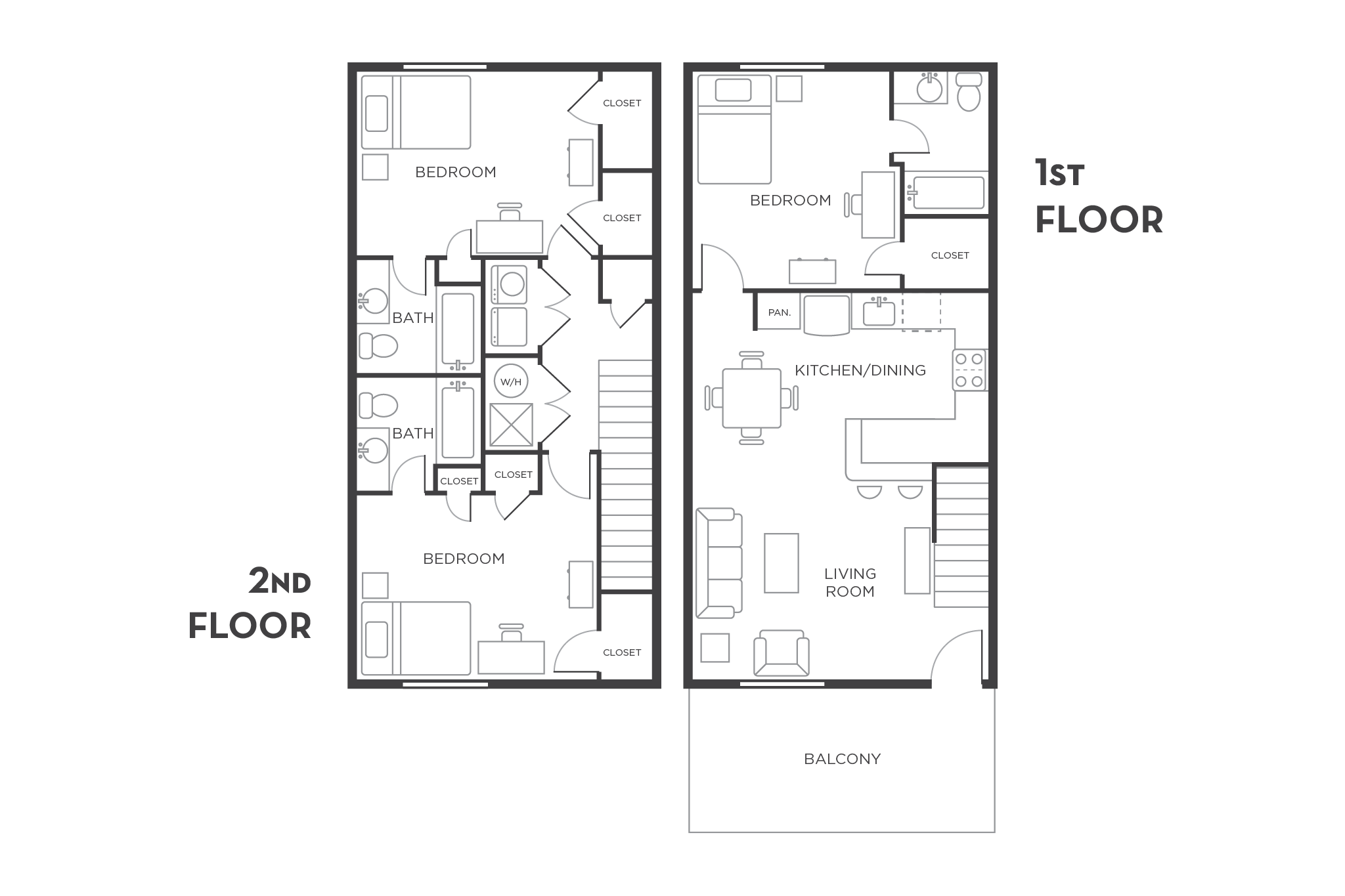 3 Bedroom Apartment Floor Plan - Wildwood Baton Rouge | bed/bath ...