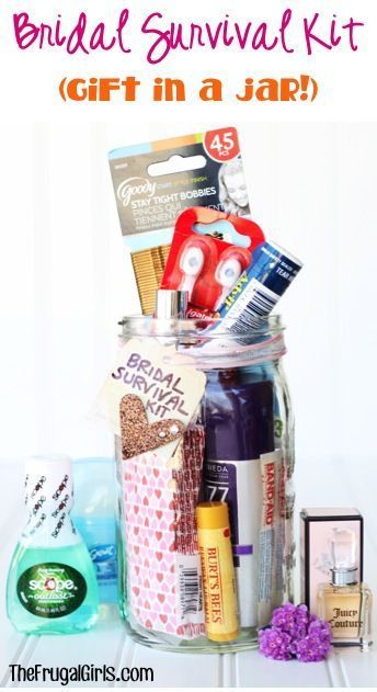 Diy Bridal Survival Kit In A Jar From Thefrugals The Perfect Gift Or Shower Present To Give Before Wedding For Bride Be