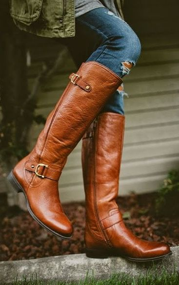 Cognac Over the Knee Boots Twenties Girl Style