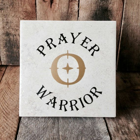 Prayer Warrior Ceramic Tile With Crosshairs Symbol Religious Tile