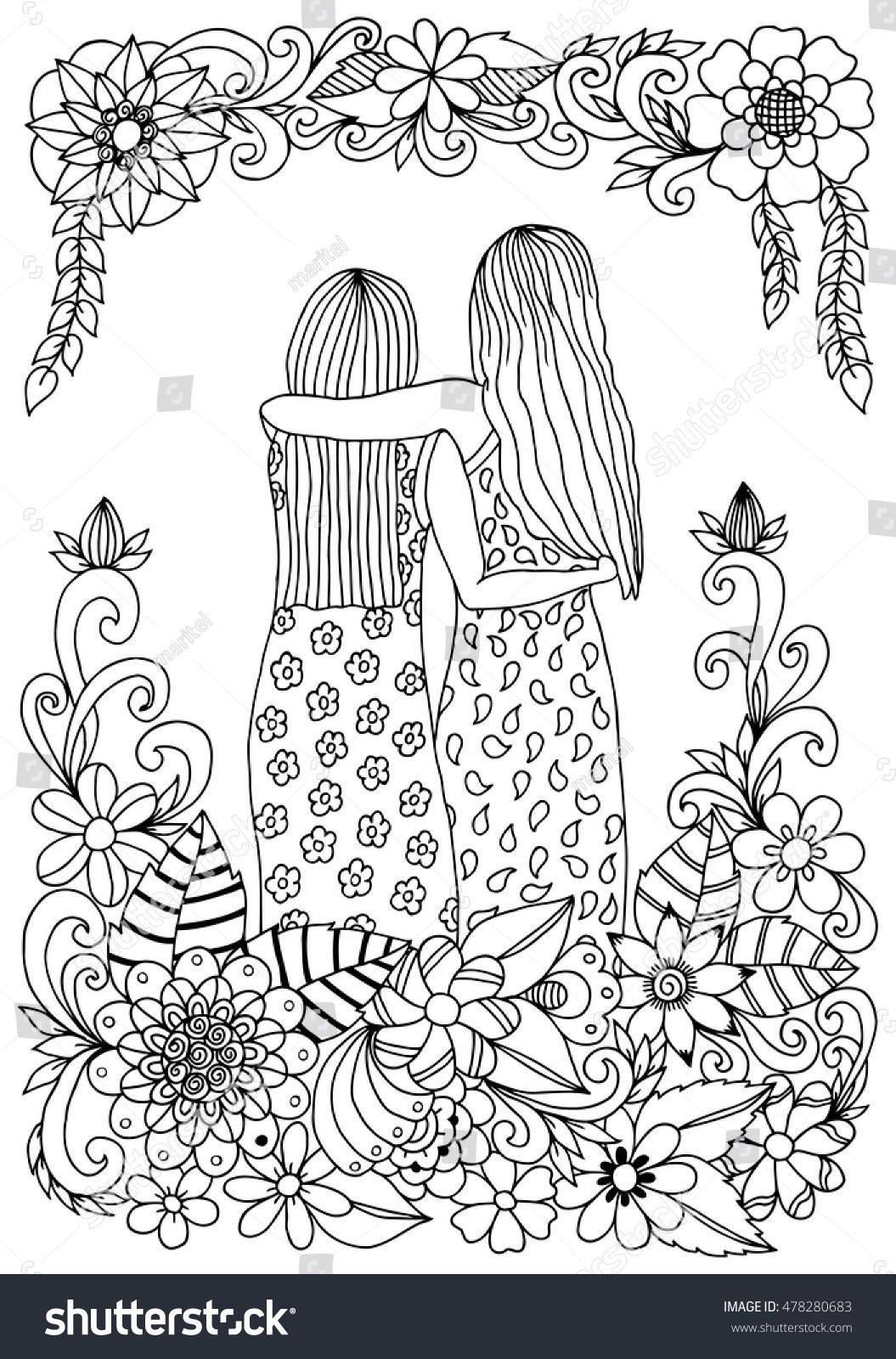 Stock Vector Vector Illustration Zen Tangle Two Sisters In Flowers Dudling Coloring Book Anti Stress For 4782 Coloring Pages Free Coloring Pages Coloring Books