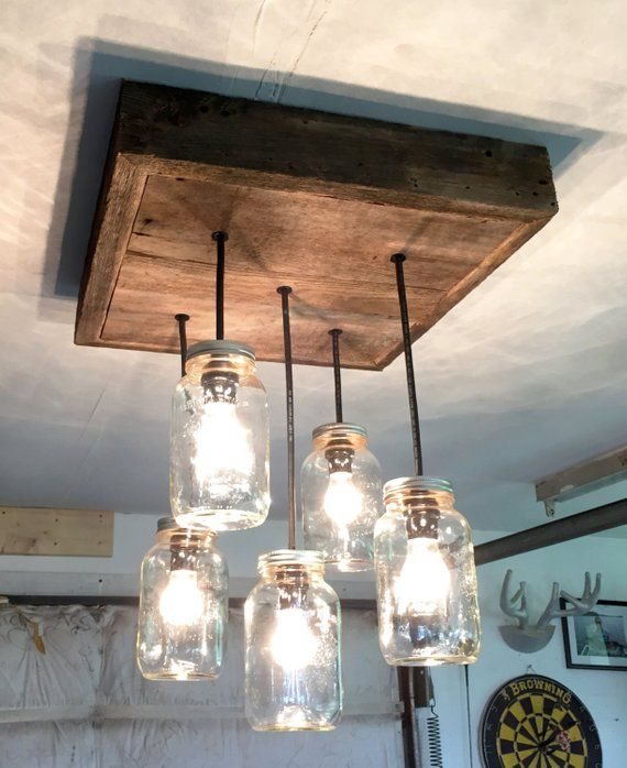 Diy Kitchen Light Fixtures Part 2: Barn Wood Mason Jar Chandelier (5 Jar) In 2019