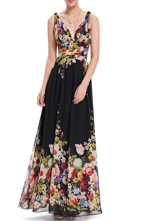 Cici.wang Floral Plunging Neck Floral Print Evening Dress   Evening Dresses at DEZZAL