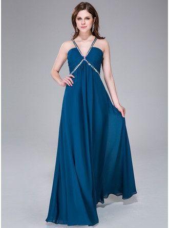 Empire V-neck Floor-Length Chiffon Prom Dress With Ruffle Beading