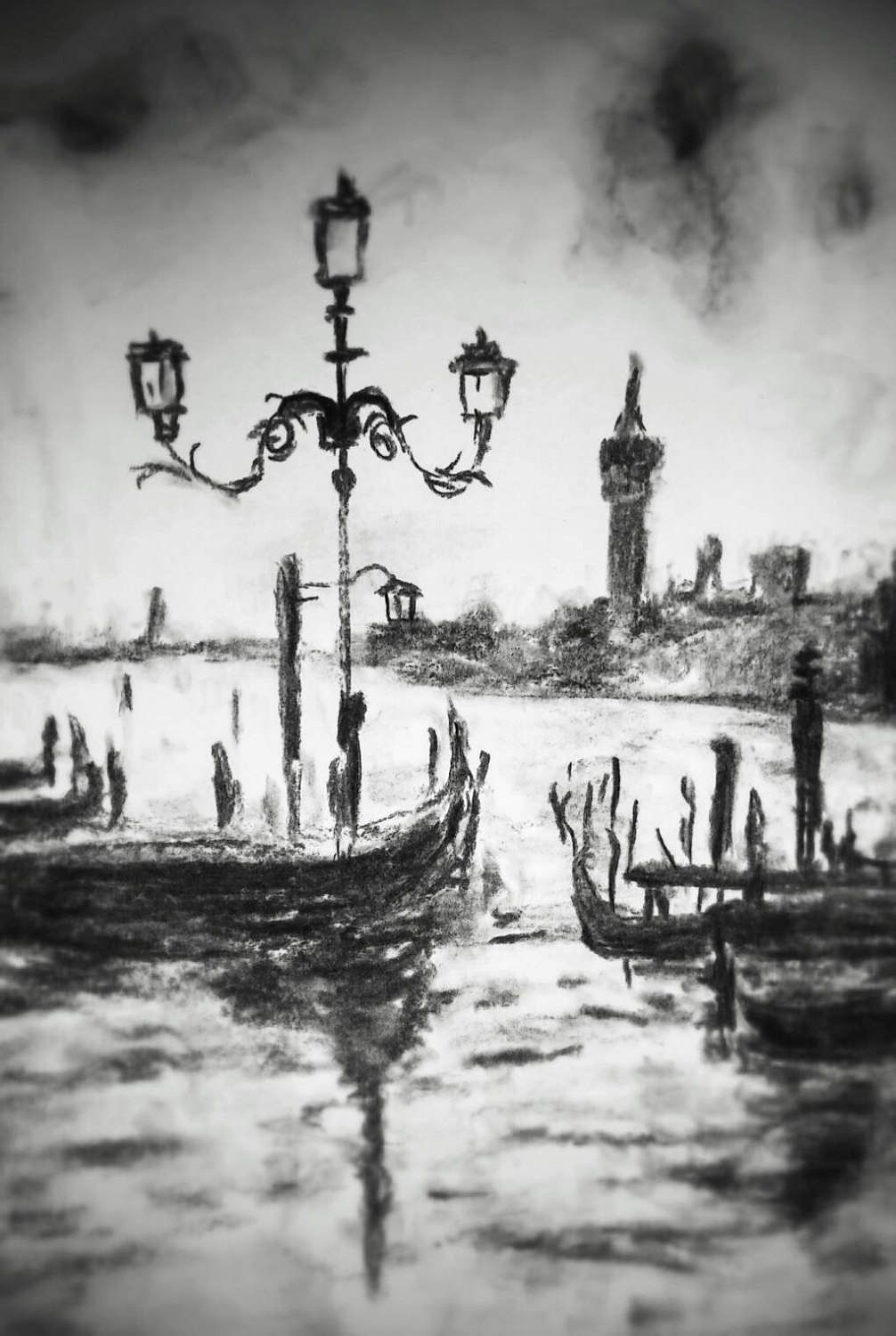 Venice bay charcoal drawing minimalist art foggy day