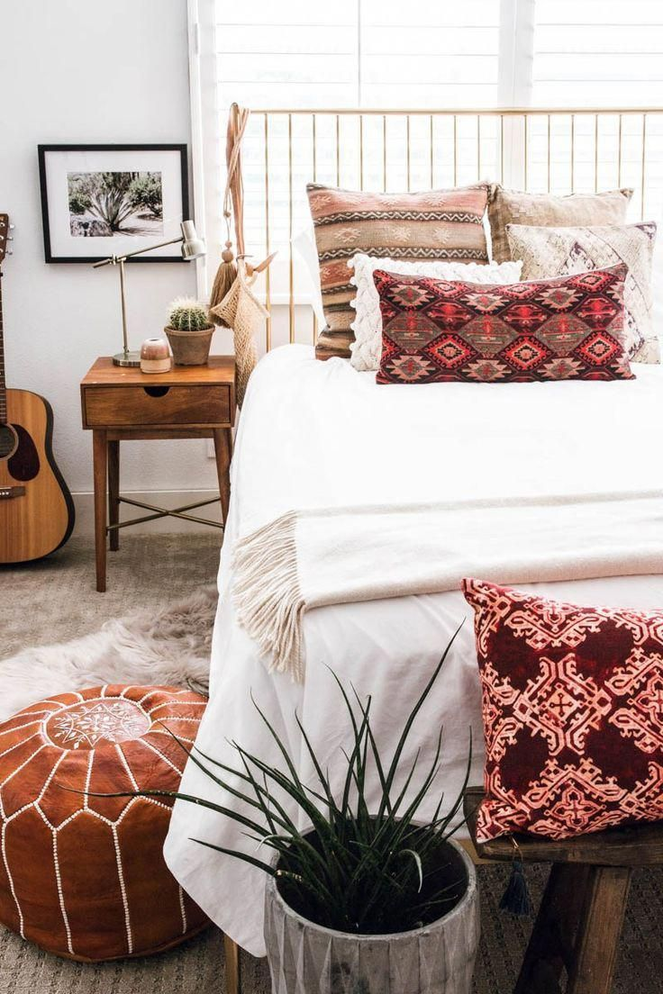 modern west elm brass spindle bed Stella boho eclectic