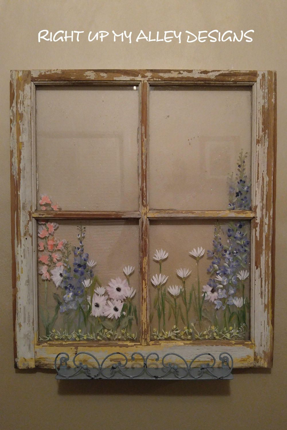 Hand Painted Floral Old Window With Decorative Distressed Blue Shelf This Would Look So Cute In A Bathroom Window Painting Window Crafts Painted Window Panes