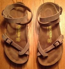 edf50a9ee3e1  NEW  Birkenstock Yara Oiled Leather Ankle Strap Size 7 EU 38 Womens sandal
