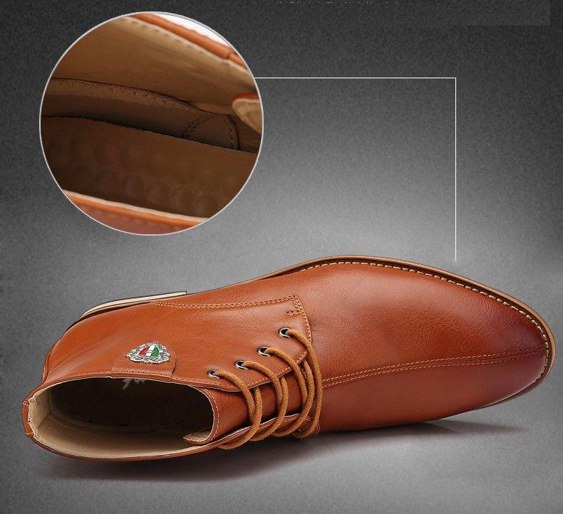 72e0cc8e35402 Botas de cuero negro para Hombre zapatos de vestir marrones casuales  botines nuevo diseño moda otoño