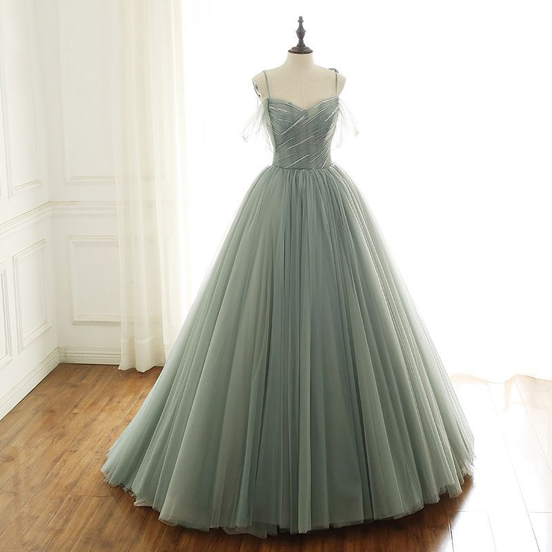 sage green ball gown