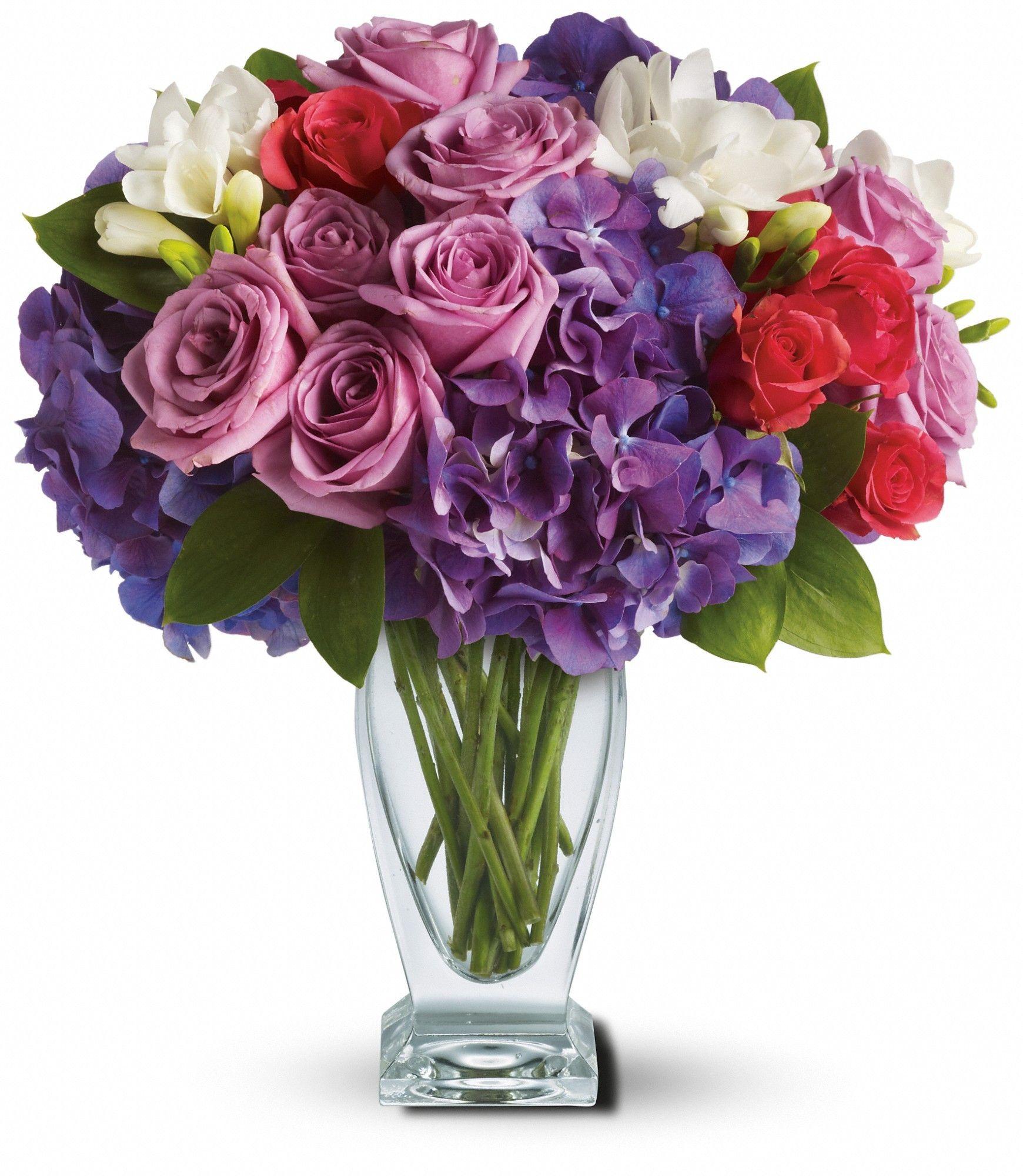 Rhapsody de teleflora en prpura bouquet pinterest floral designs rhapsody in purple send fresh flowers internationally a rhapsody of beauty is on stunning display in this arrangement gorgeous blossoms are beautifully izmirmasajfo