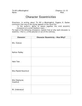 To Kill a Mockingbird Character Eccentricities Graphic Organizer