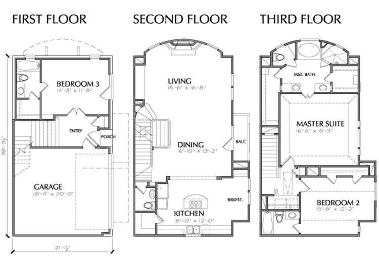 Downsizing House Plans 3 Story Town Home Town House Plans Downsizing House House Plans