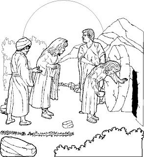 Coloring page of empty tomb of Jesus after Resurrection of