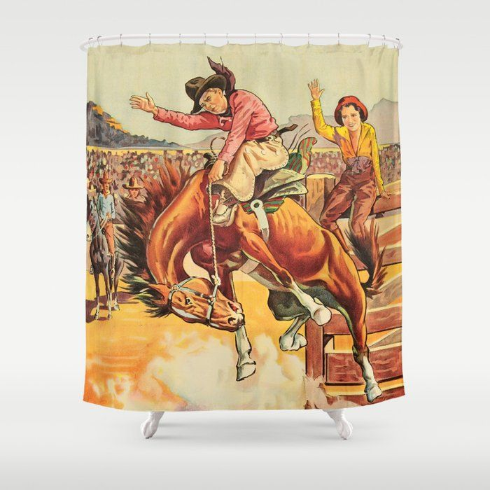 Vintage Western Rodeo Cowboy On Bucking Horse Shower Curtain By