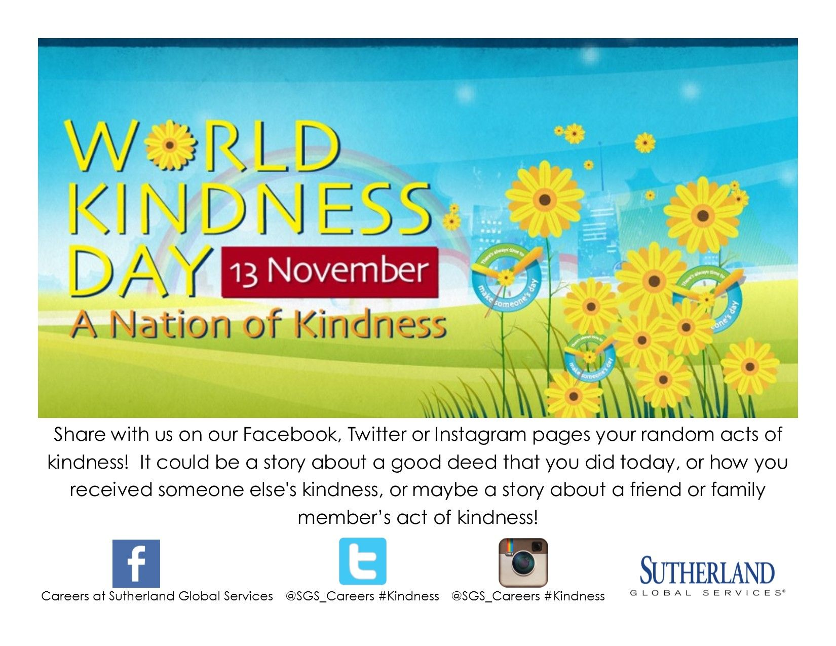Do something kind today! #kindness #sgs_careers (Twitter)