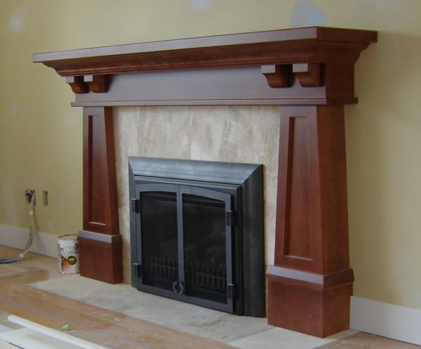 Log style mantels mantel styling custom quartersawn red for Craftsman gas fireplace
