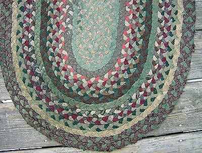 Small Vintage 41 X23 5 Hand Braided Sewn Wool Rag Rug Greens Maine Made