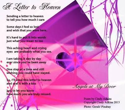 Letter To HeavenBy Cindy AdkinsAngels At My Door On Facebook