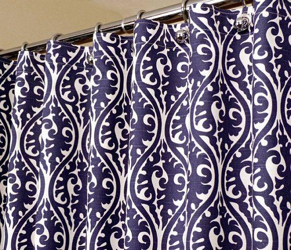 Orientalische Muster-Duschvorhang in Indigo Blue \ von LaRicaHome