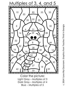Freebie Color By Number Multiples Of 3 4 And 5 Math Coloring Multiplication Math Facts