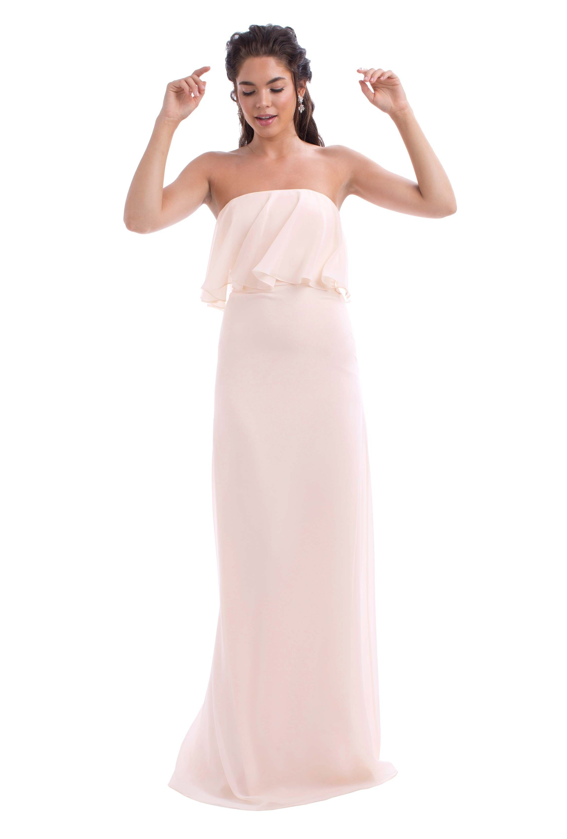 Monique lhuillier cara to be vows and uxui designer a floor length strapless chiffon bridesmaid dress with ruffle detail in seven colors ombrellifo Image collections