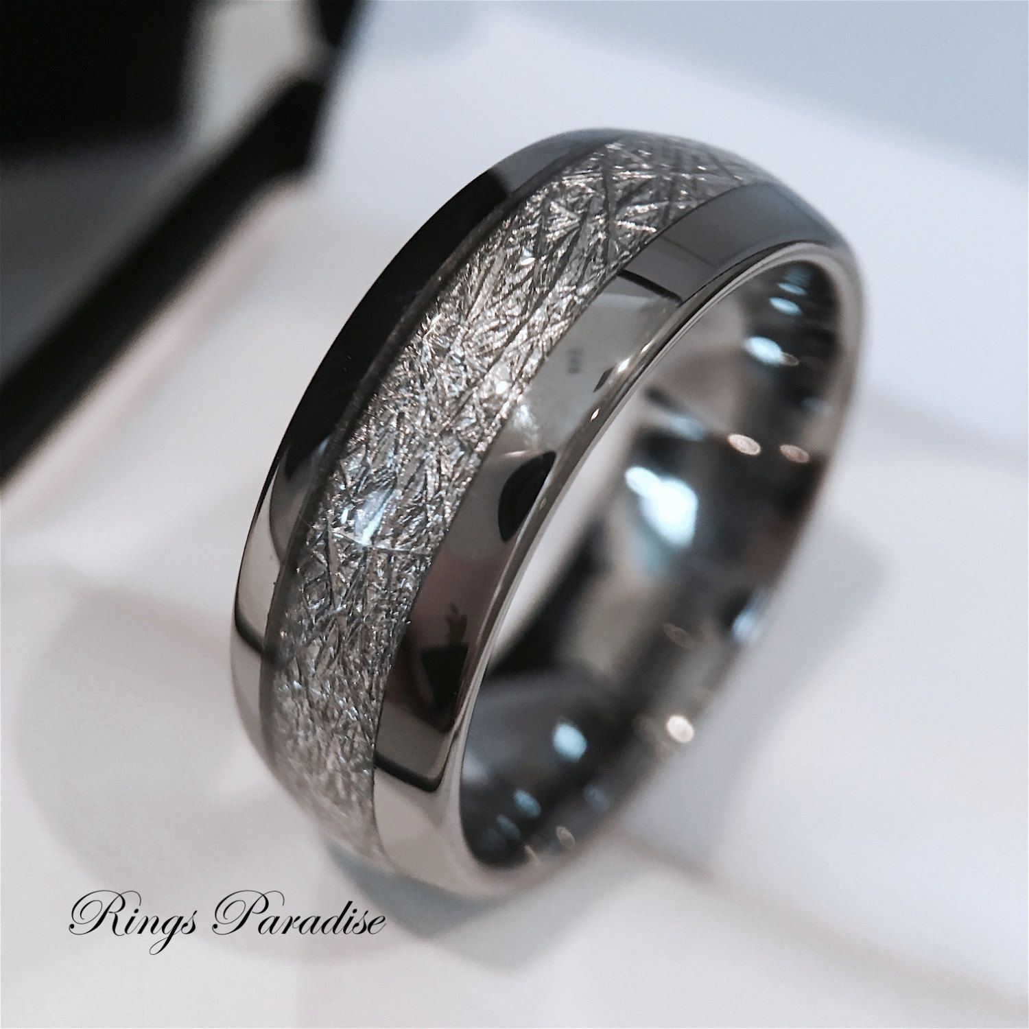 Mens tungsten wedding band meteorite inlay ring his for Ring mens wedding